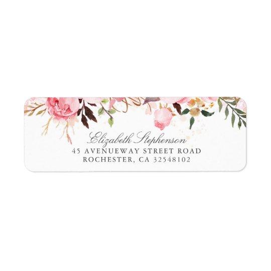Pink Flowers Return Address Label