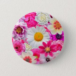 Pink flowers_ Sanchez Glory 2 Inch Round Button