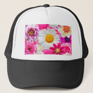 Pink flowers_ Sanchez Glory Trucker Hat