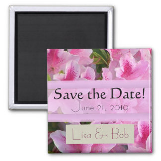 Pink Flowers Save the Date Magnet