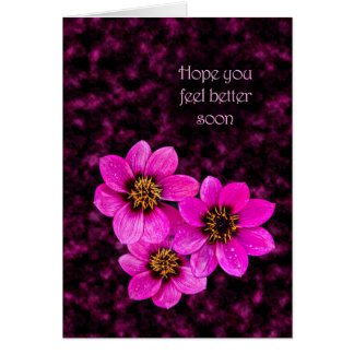Pink flowers saying Hpe you feel better Card