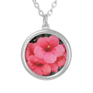 Pink Flowers  Silver Plated Round Necklace