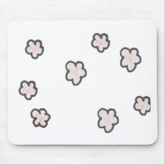 pink flowers, sketched mouse pad