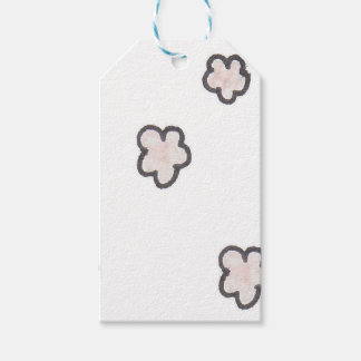 pink flowers, sketched pack of gift tags