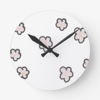 pink flowers, sketched round clock