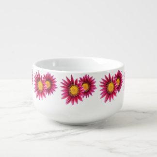 pink flowers soup mug