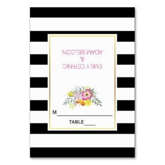 Pink flowers & stripes modern wedding escort card
