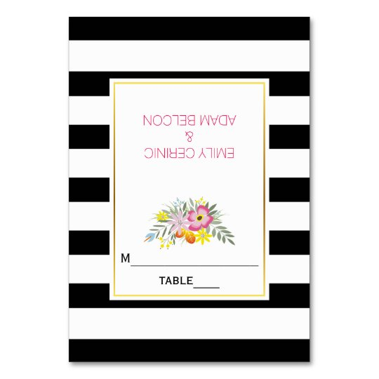 Pink flowers & stripes modern wedding escort card