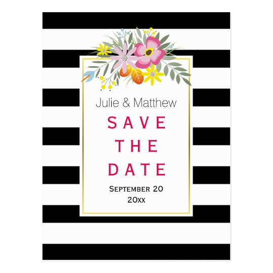 Pink flowers & stripes wedding Save the Date Postcard