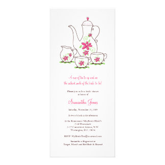 Pink Flowers Tea Set Bridal Shower Invitations