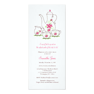 Pink Flowers Tea Set Bridal Shower Invitations