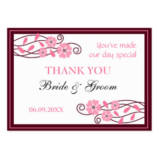 Pink Flowers Thank You Wedding Favor Gift Tags Pack Of Chubby Business Cards