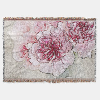 Pink Flowers Throw Blanket