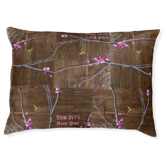 Pink Flowers Tree Branches Wood Indoor Dog Bed