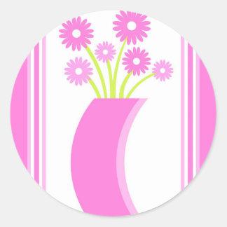 Pink flowers vase - Sticker