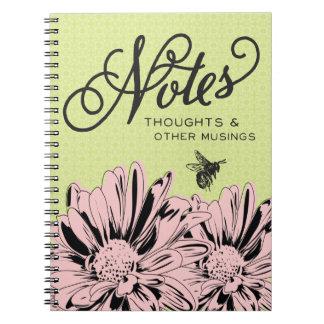 Pink Flowers & Vintage Bee Notes Notebook
