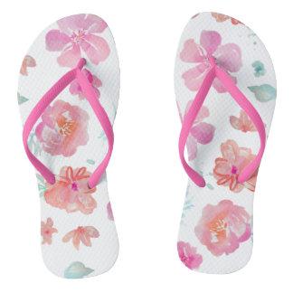 Pink Flowers Watercolor Floral Adult, Slim Straps Flip Flops