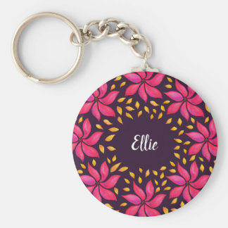Pink Flowers Watercolor Wreath Name Keychain