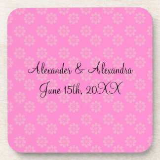 Pink flowers wedding favors coasters