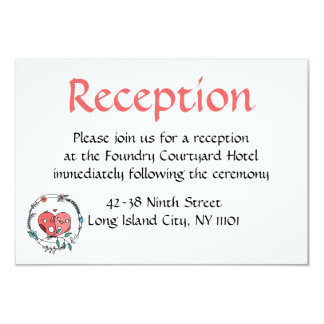 Pink Flowers Wedding Reception Floral Card