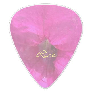Pink Flowers White Delrin Guitar Pick