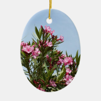 Pink flowers with a blue sky ceramic oval ornament