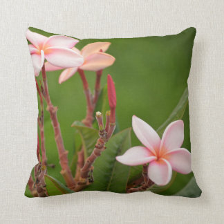 Pink Flowers with a green background Throw Pillow