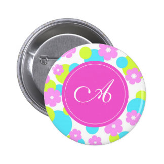 Pink flowers with A monogram Pinback Buttons