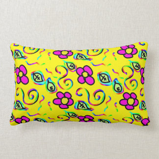 pink flowers with a yellow background lumbar pillow