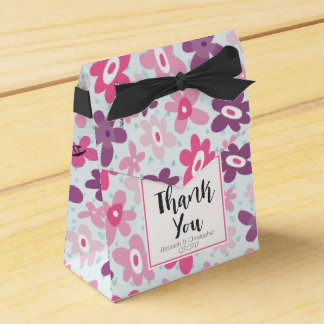 Pink Flowers with Blue Hearts Cute Thank You Wedding Favor Box