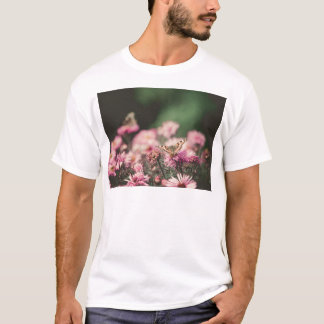 Pink Flowers with Butterfly Filtered 3 T-Shirt