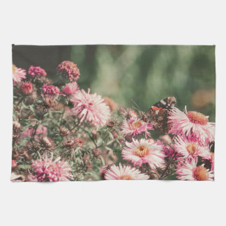 Pink Flowers with Butterfly Filtered 4 Towels