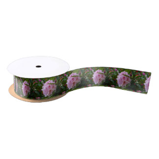 pink flowers with dew satin ribbon