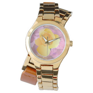 Pink Flowers Yellow Rose Gold Wraparound Watch