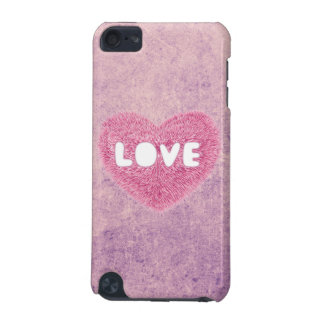 Pink fluffy Love Heart iPod Touch 5G Covers