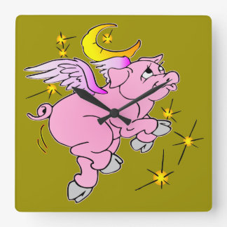 Pink Flying Pig #003 Square Wall Clock