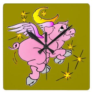 Pink Flying Pig #003 Wall Clocks