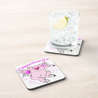 Pink Flying Pig When Pigs Fly Beverage Coaster