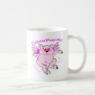 Pink Flying Pig When Pigs Fly Coffee Mug