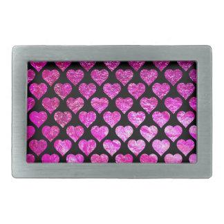 Pink Foil Hearts Belt Buckles