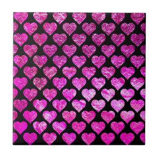 Pink Foil Hearts Tile
