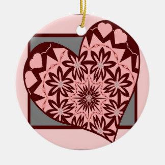 Pink Folk Heart Ornament