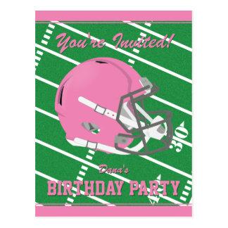 Pink Football Party Invitation Postcard - Editable