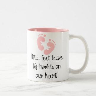 Pink Footprints Little Feet Big Imprints Two-Tone Coffee Mug