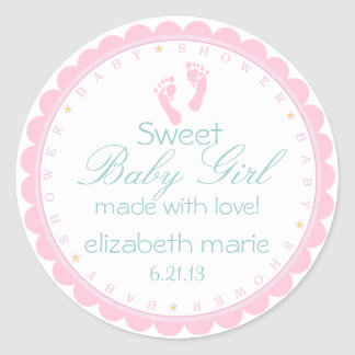 Pink Footprints Sweet Baby Girl Classic Round Sticker