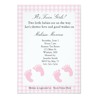 "Pink Footprints Twins Shower Invitation 5"" X 7"" Invitation Card"