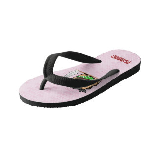 Pink for pirate pug (phone) beach sandal (kids)