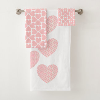 Pink Four Leaf Clover Hearts Bath Towel Set