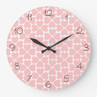 Pink Four Leaf Clover Hearts with Numbers Large Clock