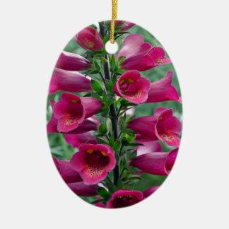 Pink foxglove flowers ceramic oval ornament